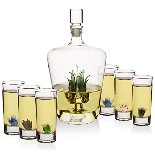 Tequila Decanter Set With Agave Decanter and 6 Agave Shot Glasses, Perfect For Any Bar Or Tequila Party, 25 Ounce Bottle, 3 Ounce Tequila Shot Glasses