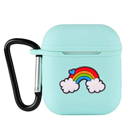 Forgun Rainbow Soft Silicone Shockproof Cover with Carabiner for Apple AirPods Earphone Cute Protector Case