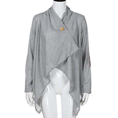 Mujer Manga Frente Gris Ropa Vestido Con Patchwork Coat De Irregular QinMM Abrigo Abierto Larga De wCxqAqS5
