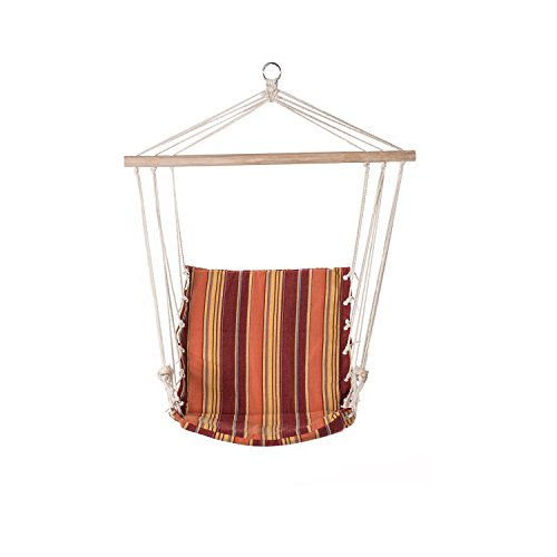 Prime Garden Hanging Rope Chair Cotton Padded Swing Chair Hammock Seat for Indoor or Outdoor Spaces-Maple red stripe