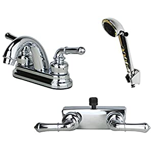 Builders Shoppe 2001CP/3220CP/4120CP RV Bathroom and Shower Faucet Matching Hand Combo, Chrome Finish