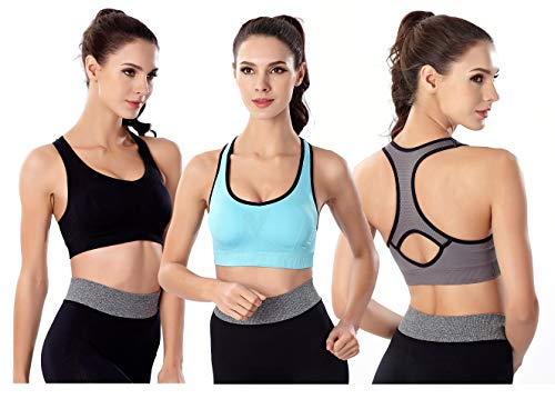 YIVEKO Women Sports Bra Racerback High Impact Padded Seamless Yoga Gym Fitness Workouts Bras-M