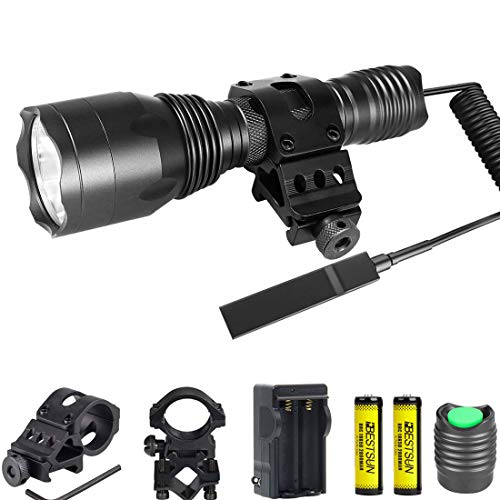 Tactical Flashlight 1200Lumens Waterproof Cree L2 LED Single Mode Hunting Light with Picatinny Rail 45° Offset Side Mount & Barrel Rifle Mount, Pressure Switch, Rechargeable Batteries and Charger ()