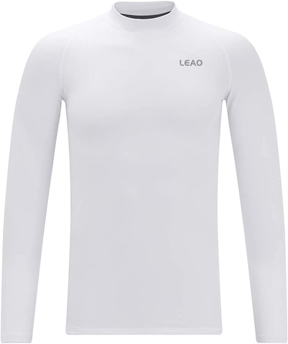 LEAO Youth Boys' Compression Thermal Shirt Long Sleeve Fleece Baselayers Sports Undershirts Mock Top: Clothing