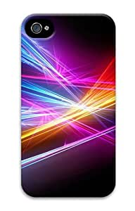 iPhone 4S Case, iPhone 4S Cases -Rays Color Black Background Polycarbonate Hard Case Cover for iPhone 4/4S