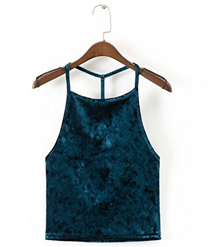 (Lafee Bridal Women's Halter Velvet Cami Camisole Blackless Crop Tank Top Club Vest Dark Green L)