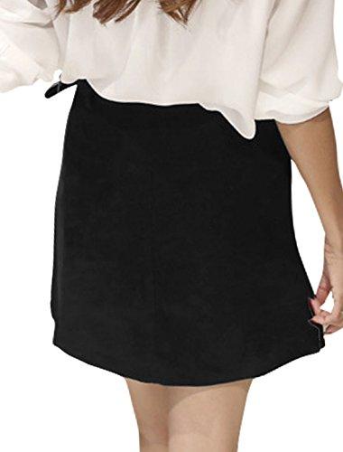 Allegra K Falda A-Línea Para Mujeres Bolsillos Inclinados De Cintura Alta Negro