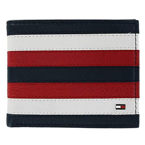 Tommy Hilfiger Men's Carmine Leather Red White and Blue Passcase Bifold Wallet, Red, White, and Blue