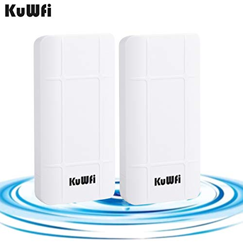 KuWFi 2-Pack Nano Station Outdoor PoE CPE 2.4GHz Wireless Bridge Kit, 300Mbps Pre-configured CPE Kit,Indoor & Outdoor Point to Point Wireless Bridge Client Bridge/CPE Support 24V POE ()