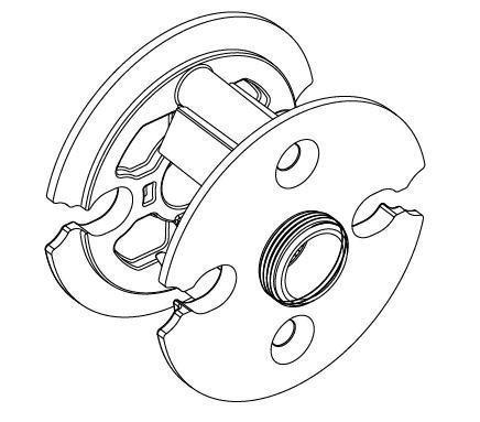"""Baldwin 6502.009 Pre-Drilled Door Adaptor,2.125"""" by Baldwin Hardware Corpororation"""