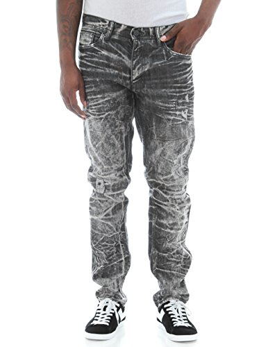 Jordan Craig Men's Slim Fit 3D Crinkle Washed Rip & Repair Denim Jeans -Shadow Wash-32/30 by Jordan Craig