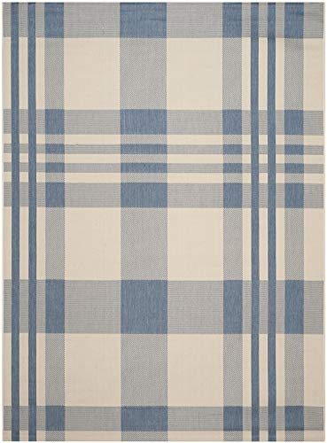 (Safavieh Courtyard Collection CY6201-233 Beige and Blue Indoor/ Outdoor Area Rug (4' x 5'7