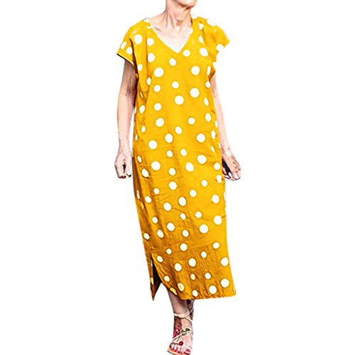 Shiretel Women's Ladies Loose Polka Dot Short Sleeve V-Neck Ankle-Length Summer Dress Yellow