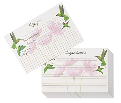 Recipe Cards - 60-Pack Blank Recipe Cards, Double-Sided, Hummingbird and Floral Design, Perfect for Wedding, Bridal Shower, and Special Occasion, 4 x 6 Inches