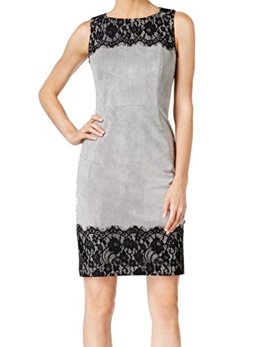 Klein Calvin Lace Cocktail Trim Suede 12 Dress Gray Faux Womens OxxqZ4wv6g