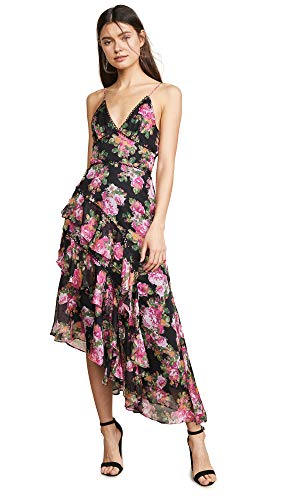 Keepsake The Label Women's Oblivion Sleeveless Asymmetrical Long Midi Dress, Black Rose Floral, ()