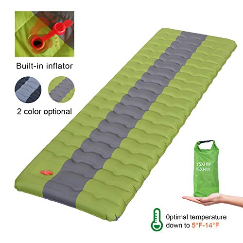 YSXHW Self Inflating Camping Pads Thick 4.7 Inch Lightweight Camping Sleeping Pad Ultralight,Compact,Waterproof PVC Inflatable Mat for Tent, Hiking and Backpacking - Green Built in Pump