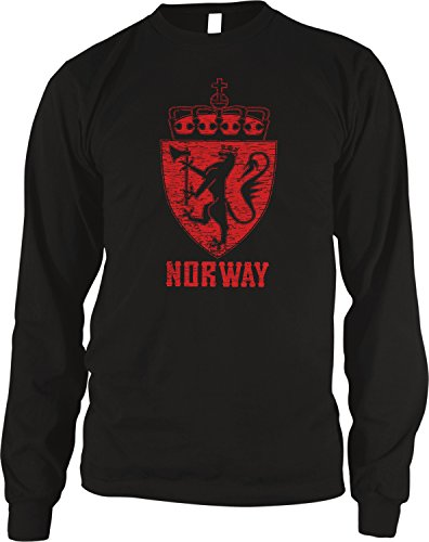 Thermal Heart Tee - Amdesco Men's Norwegian Coat of Arms, Norway Golden Lion Thermal Shirt, Black Small