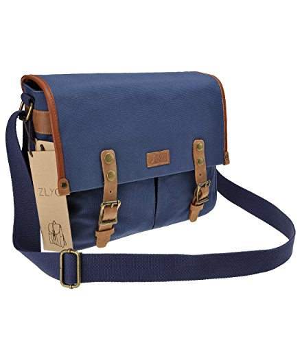 Canvas Camera Bag ZLYC Leather Trim Camera Case Waterproof DSLR Pouch Vintage Laptop Messenger Shoulder Purse for Women Men, Blue
