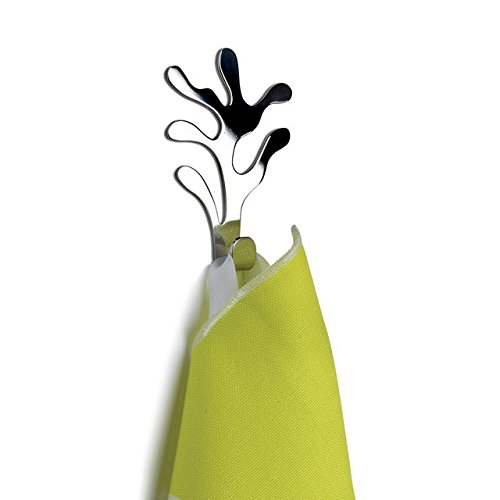 Alessi Mediterraneo Wall Hooks. Set of 2 Stainless Steel Coat Hangers. Designed by Emma Silvestris. Designer Wall Hooks - Good Gift for Housewarming.