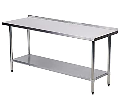 Amazoncom X Inch Stainless Steel Work Table With Backsplash - 24 x 24 restaurant table
