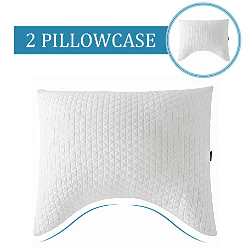 Windsleeping Shredded Hypoallergenic Natural Latex Foam Pillow Premium Adjustable Loft Bed Pillows Neck Support Shoulder Pain Relief with Washable ()