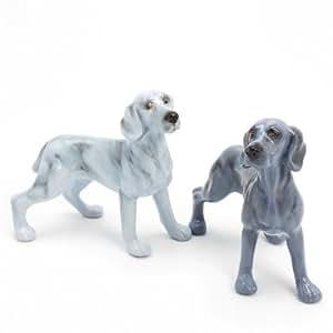Weimaraner Dog Ceramic Figurine Salt Pepper Shaker 00014 Ceramic Handmade Dog Lover Gift Collectible Home Decor Art and Crafts