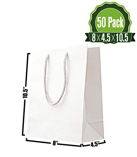 - White Kraft Paper Gift Bags Bulk with Rope Handles [ Ideal for Shopping, Packaging, Retail, Party, Craft, Gifts, Wedding, Recycled, Business, Goody and Merchandise Bag] (50 Count)