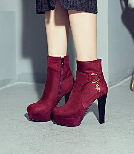 Platform Heel Women's Red Short Block Boots Carolbar ETFqAnZttx