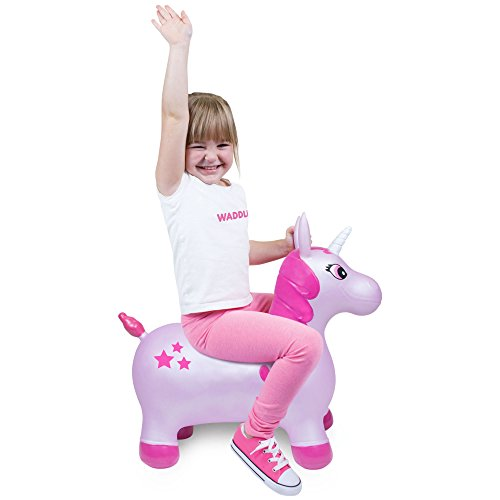 WADDLE Favorite Pink Unicorn Toy Space Hopper Ride On Large Inflatable Animal Kids Riding Bouncy Horse for Girls Twilight Sparkle Magical Pony Interactive for Toddlers and Children Gift Idea by WADDLE (Image #2)
