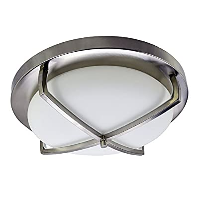 """HomeSelects 6166 Industrial Chic Flush Mount Ceiling Light, Brushed Nickel with Opal Glass Globe, 16"""" L x 16"""" W x 5.5"""" H"""