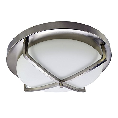 HomeSelects 6166 Industrial Chic Flush Mount Ceiling Light, Brushed Nickel with Opal Glass Globe, 16 L x 16 W x 5.5 H