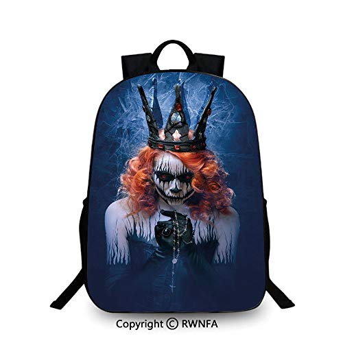 Lightweight Backpack-School Bag for Kid Girls Boys Colorful,Queen of Death Scary Body Art Halloween Evil Face Bizarre Make Up Zombie School Backpacks For boys Navy Blue Orange -