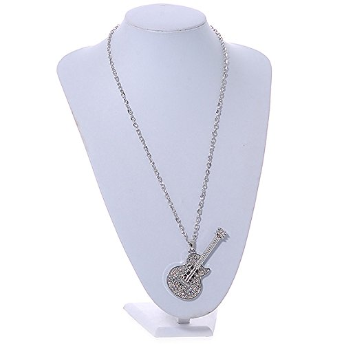 Avalaya Statement Crystal Guitar Pendant with Long Chunky Chain in Silver Tone 68cm L
