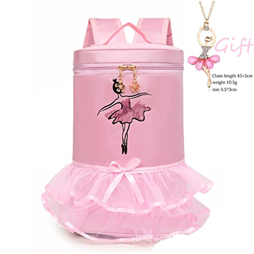 (Cute Ballet Dance Bag Tutu Barbie Dress Bag + Necklace Girls (Pink1))