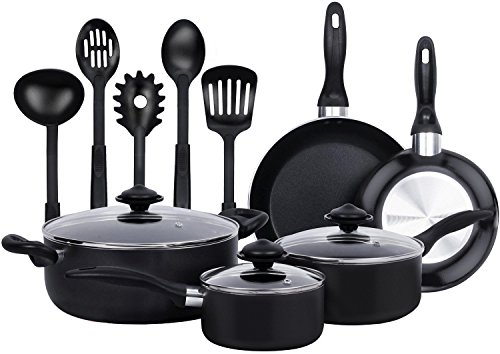 13-Pieces - Heavy Duty Cookware Set - Black, Highly Durable, Even Heat Distribution, Double Nonstick Coating - Multipurpose Use for Home, Kitchen or Restaurant - by Utopia Kitchen (Cookware Set)