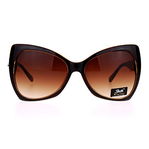 SA106 Unique Oversized Cat Eye Hybrid Butterfly Sunglasses Brown