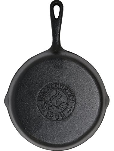 Backcountry Cast Iron Skillet (8 Inch Small Frying Pan, Pre-Seasoned for Non-Stick Like Surface, Cookware Oven / Range / Broiler / Grill Safe, Kitchen Deep Fryer, Restaurant Chef Quality)