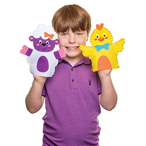 Baker Ross Easter Hand Puppet Sewing Kits (Pack of 3) Easter Crafts for Kids to Make and Perform Puppet - Sewing Easter Crafts