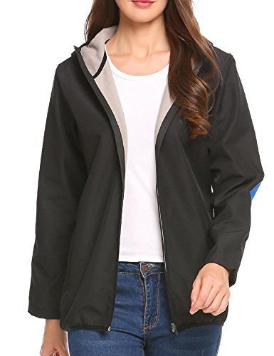 Zeagoo Women's Warm Waterproof Fleece Lined Hooded Softshell Outdoor Windbreaker Raincoat, Black, (Lined Windbreaker Jacket)