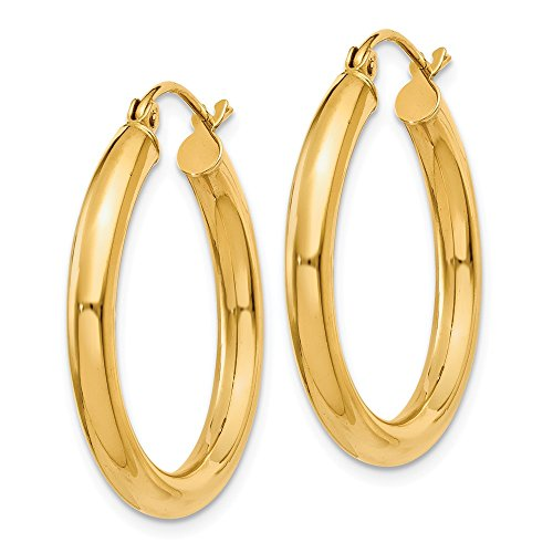 Designs by Nathan, Classic 14K Yellow Gold Tube Hoop Earrings: Seamless, Hollow, and ()