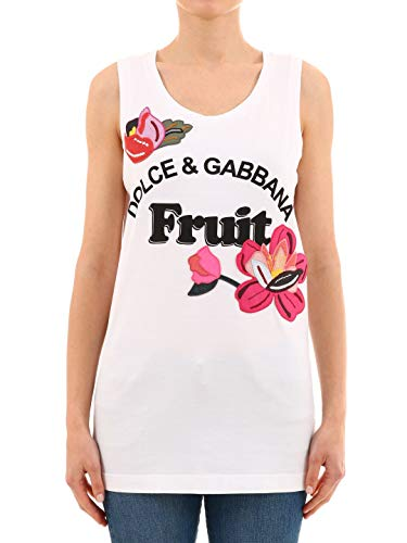 Tank Gabbana Coton Blanc E F8k75zhh7mghwk62 Dolce Top Femme WU5YAqOOw