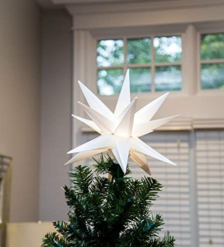 Elf Logic 12 Hanging Moravian Star Light NO Assembly Required! Large White 3D Christmas Star. Perfect Indoor or Outdoor Advent or Christmas Star
