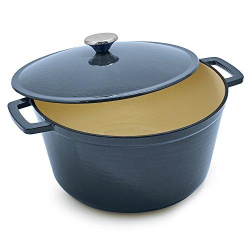Sur La Table Lightweight Cast Iron Dutch Oven with Stainless Knob, 8 qt., Blue (Oven La Table Sur)