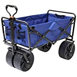 Mac Sports Heavy Duty Steel Frame Collapsible Folding 150 Pound Capacity Outdoor Beach Garden Utility Wagon Cart with 4 All T