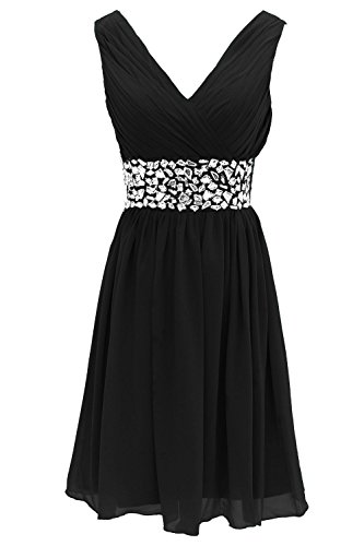 Black with Party Dress Evening Chiffon AN86 Short Beads Bridesmaid Anlin Dress 460nfvIw