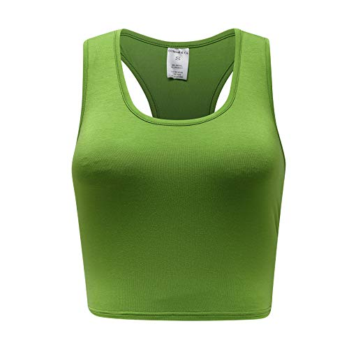 OThread & Co. Women's Basic Crop Tops Stretchy Casual Scoop Neck Racerback Sports Crop Tank Top (Small, Grass Green)