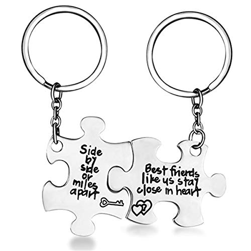 SNOWLIN Weirdo 1 and Weirdo 2 Pendant Necklaces Best Friends Forever Pendant Friendship Set Stainless Steel Necklace Puzzle Piece Pendant Keychain Set (Side by Side Keychain) (Best Friends Split Pendant)