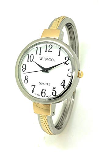 Ladies Big Numbers Skinny Metal Bangle Cuff Fashion Watch White Dial Wincci (Two Tone)