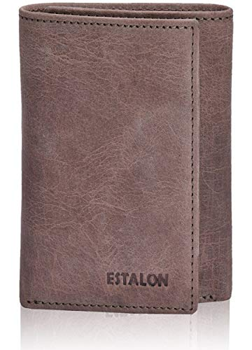 Pocket Wallets for Men - Brown Real Leather RFID Blocking Travel Trifold Wallet